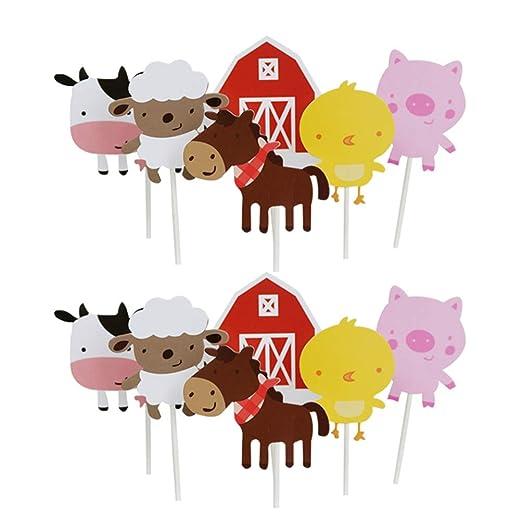 Holibanna decoraciones de cupcake toppers animales de granja fiesta de cumpleaños herramientas de decoración de cupcake para suministros de fiesta 12 ...