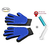 Pet Grooming Gloves Mitts, Pet Deshedding Tool Cat Brushing Glove Hair Removal Pet Gloves Massage Brush for Long & Short Hair Dogs Cats Bunnies (One Pair)
