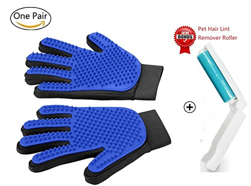 Pet Grooming Gloves Mitts, Pet Deshedding Tool Cat Brushing Glove Hair Removal Pet Gloves Massage Brush for Long & Short Hair Dogs Cats Bunnies (One Pair) (Blue)