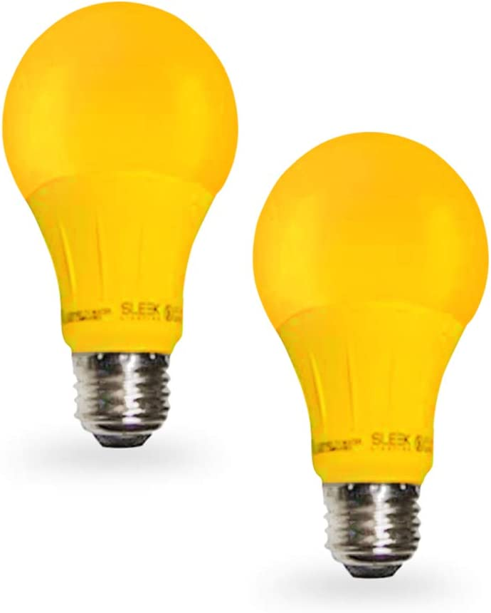 Sleeklighting LED A19 Yellow Light Bulb, 120 Volt - 3-Watt Energy Saving - Medium Base - UL-Listed LED Bulb - Lasts More than 20,000 Hours 2pack