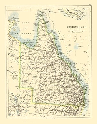 QUEENSLAND. State map Brisbane Gold Coast Railways. Australia. JOHNSTON - 1920 - old map - antique map - vintage map - Australia ()