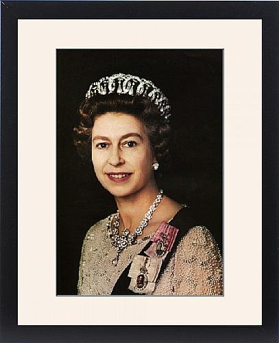 Framed Print of Portrait of Queen Elizabeth II wearing the Vladimir Tiara, 1972 (Queen Mary Tiara)