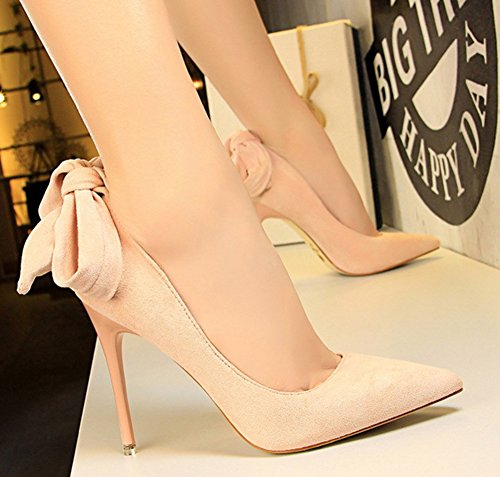 Aisun Womens Unique Dressy Stiletto High Heel Low Cut Pointed Toe Slip On Pumps Shoes With Bow Pink 6LdYYJ3HNS