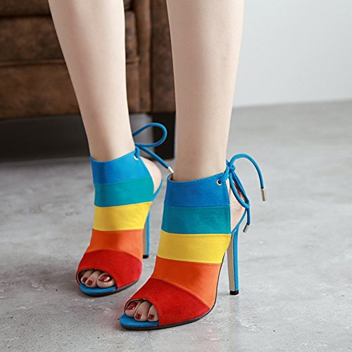 SASA scarpe alto Sandali donna Colore per EU36 5 con spillo abbinato Scarpe da con da tacco Sandali estive donna pesce a arcobaleno UK3 tacco nuove Colore rt7frR