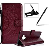 Strap Leather Case for Samsung Galaxy J3 2018,Brown Wallet Cover for Samsung Galaxy J3 2018,Herzzer Classic Retro Pretty Mandala Flower Embossed Magnetic Closure Stand Shockproof Flip PU Leather Back Case with Soft Silicone