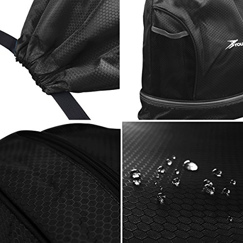 YOULERBU Gym Drawstring Bag, Sports Backpack With Shoe Compartment, Swim Bag With Wet Dry Compartments for Women Men by YOULERBU (Image #5)