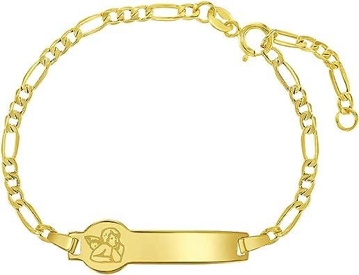 Childs Adjustable ID Bracelet  14 karat yellow gold