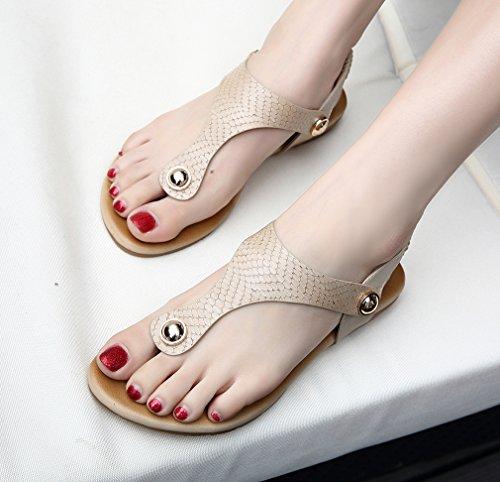 YoungSoul Sandalias Planas con adornos Zapatos de Verano Comodas Chanclas Sandalias con tira trasera para Mujeres Albaricoque