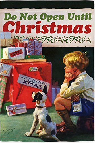 Buy evergreen do not open until christmas house flag
