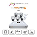 Godrej Octra HD 1080p SEHCCTV1500-1B4D 1.3MP 8-Channel DVR with 1 Bullet and 4 Dome Cameras (White)