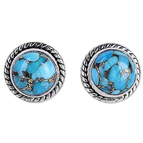 - NOVICA Blue Reconstituted Turquoise .925 Sterling Silver Stud Button Earrings 'Cool Aqua Radiance'