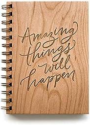 Amazing Things Will Happen Laser Cut Wood Journal (Notebook/Birthday Gift/Gratitude Journal/Handmade/Christmas