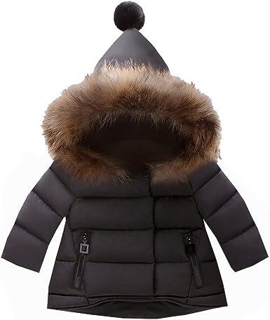 Manteau Bébé Fille Garçon Hiver Doudoune à Capuchon Fourrure