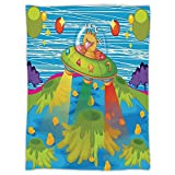 iPrint Super Soft Throw Blanket Custom Design Cozy Fleece Blanket,Outer Space Decor,For Kids Scary Monster in Ufo on Planet Solar System Galaxy Funky Back,Green Blue,Perfect for Couch Sofa or Bed