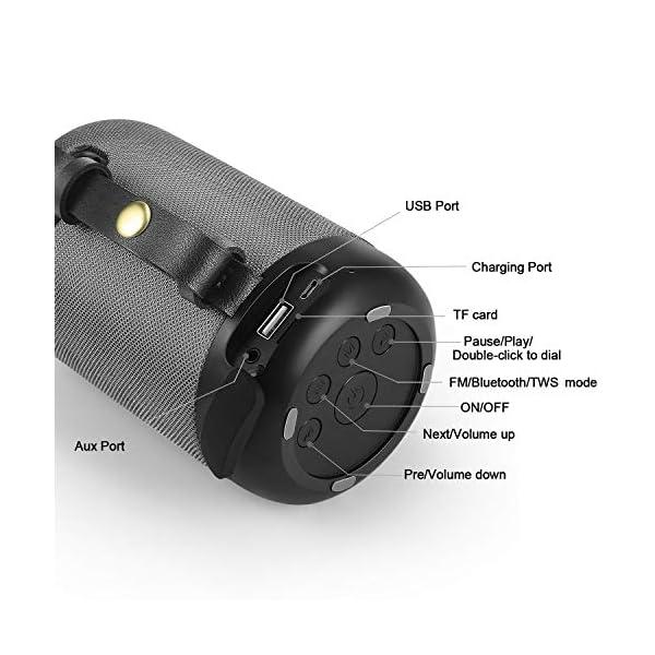Enceinte Bluetooth Portable, 20W Haut-Parleur Bluetooth sans Fil avec autonomie de 12 Heures, Pilote Double, Basses Puissantes, Mains Libres Téléphone, Carte TF Support, Microphone et Chargement USB 2