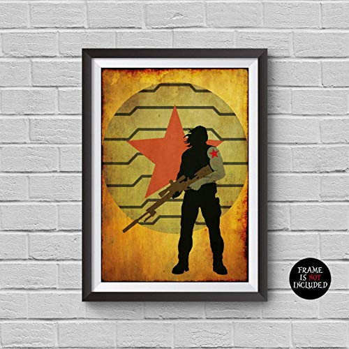 - The Avengers Bucky Barnes Minimalist Vintage Poster Avengers Collectibles Print Sebastian Stan Winter Soldier Artwork Home Decor Wall Hanging Cool Gift