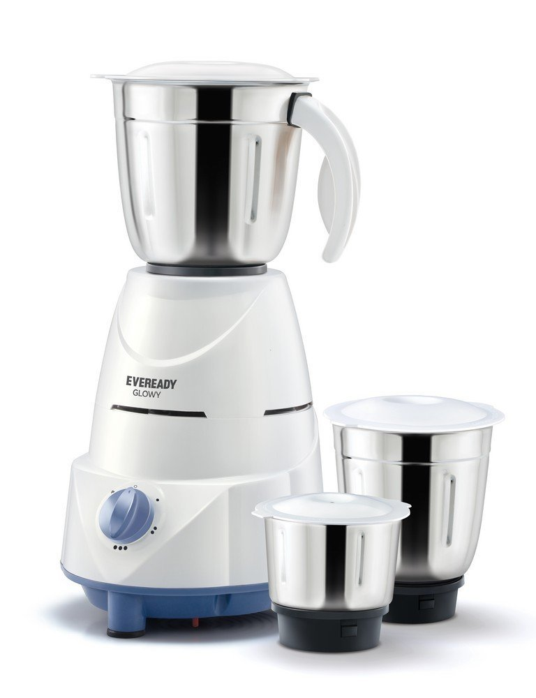 Eveready Glowy 500-Watt Mixer Grinder (White and Blue)