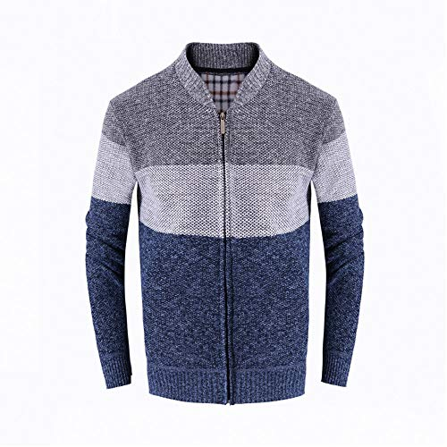 haoricu Men Casual Stand Collar Swearshirt Zip Warm Outwear Long Sleeve Cardigan Jacket Coat ()