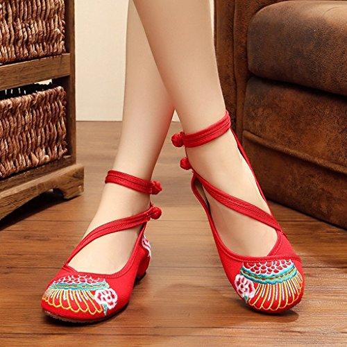 o ocasionales Negro rojos Color bordados la las Zapatos chino Rojo la del moda Zapatos mujeres estilo de Tama 37 de de cabeza casuales RFwzUqxAz