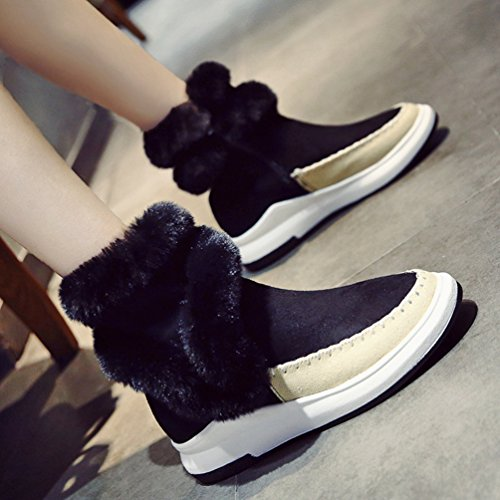Jitong Women's High Top Suede Boots Faux Fur Lined Booties Side Zip Thick Sole Snow Boot Black qPbjB6538