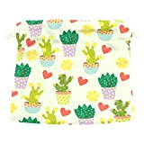 Dragon Sword Cute Cacti Flowers And Hearts Gift Bags Jewelry Drawstring Pouches for Wedding Party, 6x8 Inch