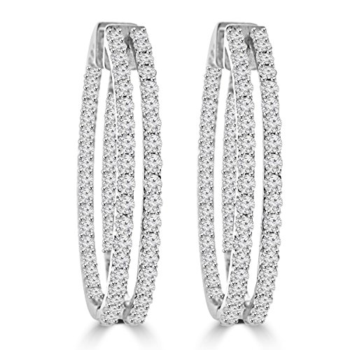 Diamond Tiffany Style Earrings - 5.26 ct ttw Ladies Round Cut Diamond Inside Outside Hoop Earrings