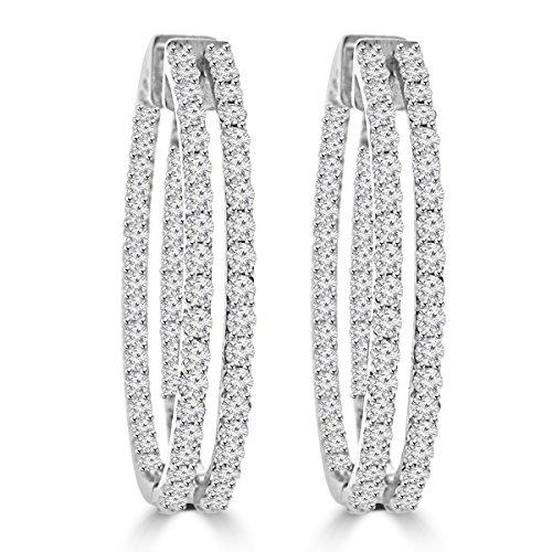 5.26 ct ttw Ladies Round Cut Diamond Inside Outside Hoop Earrings ()