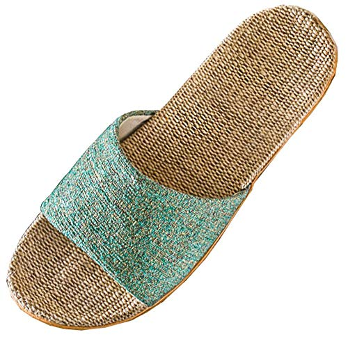 JJHAEVDY Womens Cotton Flax Home Slip On Slippers Non-Slip Casual Sandals Slide Water Shoes Shower House Bathroom Pool Blue Diamond Pool Liner
