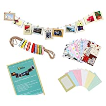 """Bundle Monster Wall Deco DIY Paper Photo Frame with Mini Clothespins and Stickers - Fits 4""""x 6"""" Pictures"""