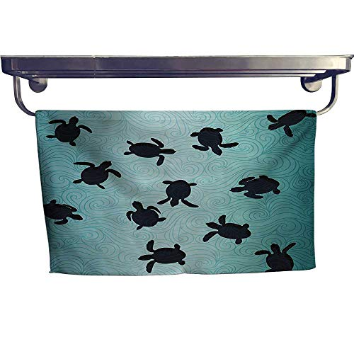 (Marine Fashion Towel Combination Baby Sea Turtles Swimming Silhouette from The Bottom of Ocean Underwater Display Cotton Hand Towels Set W 12