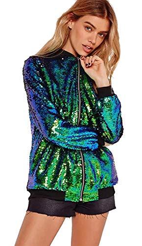 Outerwear Autunno Giacche Chiusura Lunga Cappotto Paillettes Hipster Moda A Giacca Fashion Cerniera Elegante Ragazza Manica Con Primaverile Donna Brillantini Grün Casuali Bomber gqvRt