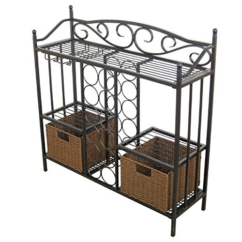 Metal Wine Racks Free Standing Floor Wine Rack Cabinet Insert Metal Bistro Furniture With Storage Wine Holder Rustic Buffet Server Console Glass Rack Modern Contemporary Kitchen And eBook By NAKSHOP