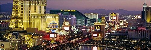 MGM Grand and Paris Casinos at Night, Las Vegas, Nevada by Panoramic Images Laminated Art Print, 51 x 17 inches