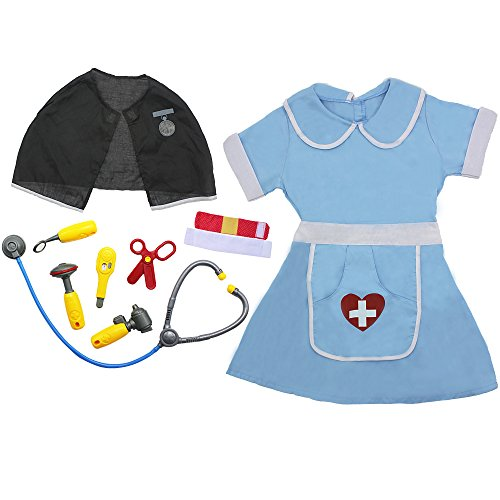 iPlay, iLearn- Toddlers Girls Doctor Nurse Medical Pretend Play Set (Blue) (3-6 Years) (School Teacher Costume)