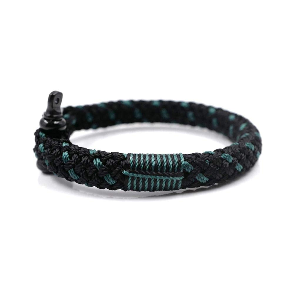 TTHER Black Green BRT-N534 Hand-Made Nautical Braided Bracelet Yachting Rope Military Paracord Bracelet Wristband with D-Shackle Nautical Rope Fence by TTHER