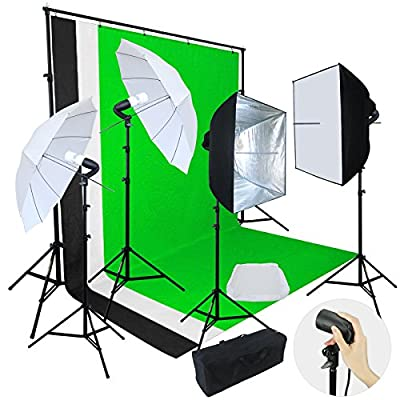 Linco Lincostore Photo Video Studio Light Kit AM142 - Including 3 Color 5x10ft Backdrops (Black/Whtie/Green) Background Screen by LINCO INC