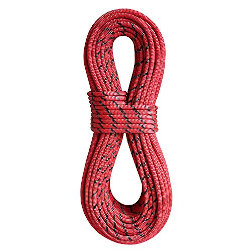 BlueWater Ropes 9.2mm Xenon Double Dry Dynamic Single, Half & Twin Rope (Bi-Pattern Red, 70M)