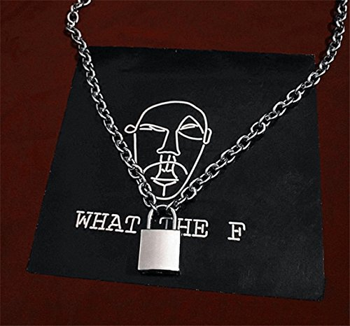 Punk Style Lock Necklace Pendant Influx Men Women Dress up 2018 Waterproof Stainless Steel Personality ()