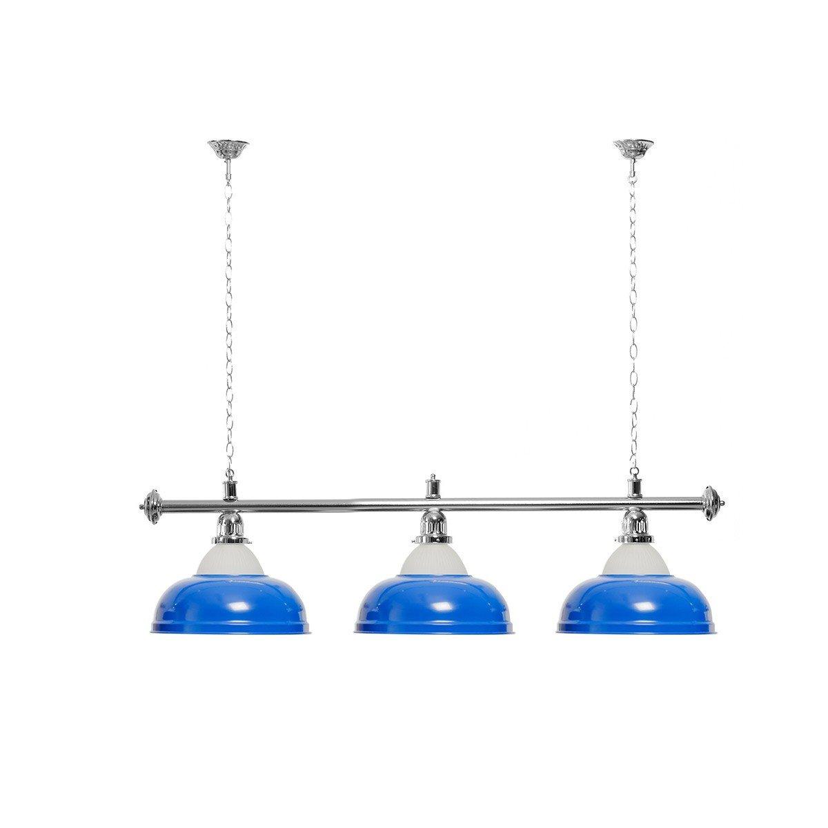 Billardlampe 3 Schirme blau mit Glas silberfarbene Halterung