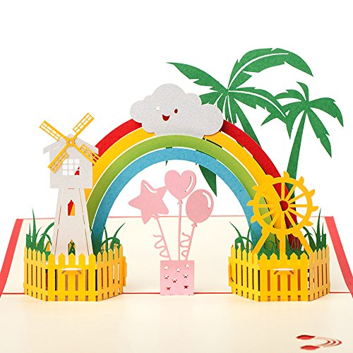 3D Pop Up Card, Rainbow and Windmill Cute Funny Greeting Card for Birthday, Baby Shower, Anniversary, Ideal Gifts for Girls, Boys, Kids, Envelope Included