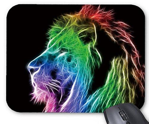 Mouse Mat Long Magnificent Mane Rainbow Lion Ferocious Roar Print Mouse Pad 11.8X9.8 Inxh