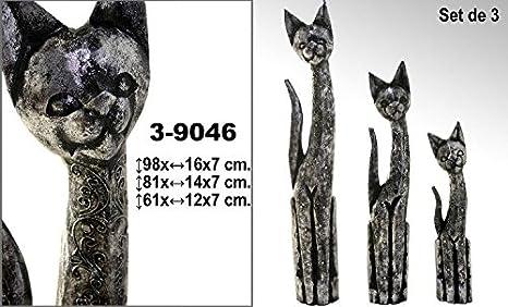 DonRegaloWeb - Set de 3 figuras de gatos de madera decorados con dibujos en color plata: Amazon.es: Hogar
