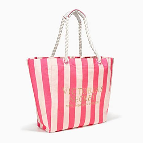 1f2bae274 Amazon.com: VICTORIA SECRET PINK BEACH BAG TOTE STRIPED PINK & WHITE:  Everything Else
