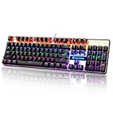 [2017 Newly Updated ]SADES K10 LED Backlit Wired USB Mechanical Gaming Keyboard Metal Panel with Blue Switches(Black&Gold)