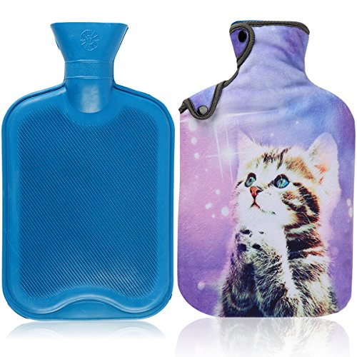le & Cover Set, 2 Liters Premium Classic Rubber Hot Water Bottle with Super Luxurious Cozy Soft Flannel Cover Set, Great For Pain Relief, Hot and Cold Therapy (Purple Wish Cat) ()