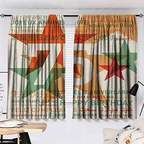 75th Birthday Room/Bedroom Worldwide Greetings in Different Languages and Stars on Retro Background 2 Panel Darkening Curtains Multicolor W55 x L39 by Jinguizi (Image #1)