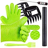 BBQ Grill Oven/Cooking Gloves-Meat Claws Set - Targher 5 in 1 BBQ Set with Silicone Gloves,Bear Claws, Meat Thermometer, Silicone Basting Brush, Non-stick BBQ Baking Mat - For Indoor & Outdoor Cooking