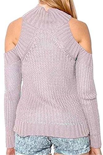 Tailloday Damen Lange Ärmel Schulterfrei Mock Neck Strickpullover Pullover Basic Top Rosa yFQRAnVVj