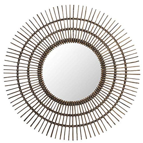 Rustic Woven Rattan Round Hanging Mirror in Sunburst Shape Wall Decor for - Standing Rattan Mirrors Bathroom