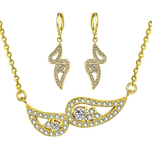 Gnzoe Jewelry, Gold Plated Women Ring Size 8 Earrings Necklace Yellow Crystal Elements Jewelry Set (Womens Korean Pop Star Costume)